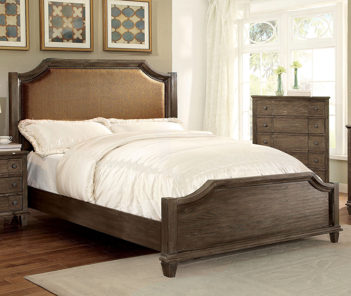 Halliday CM7281Q Transitional Wired-Brushed Gray Finish Queen Bed