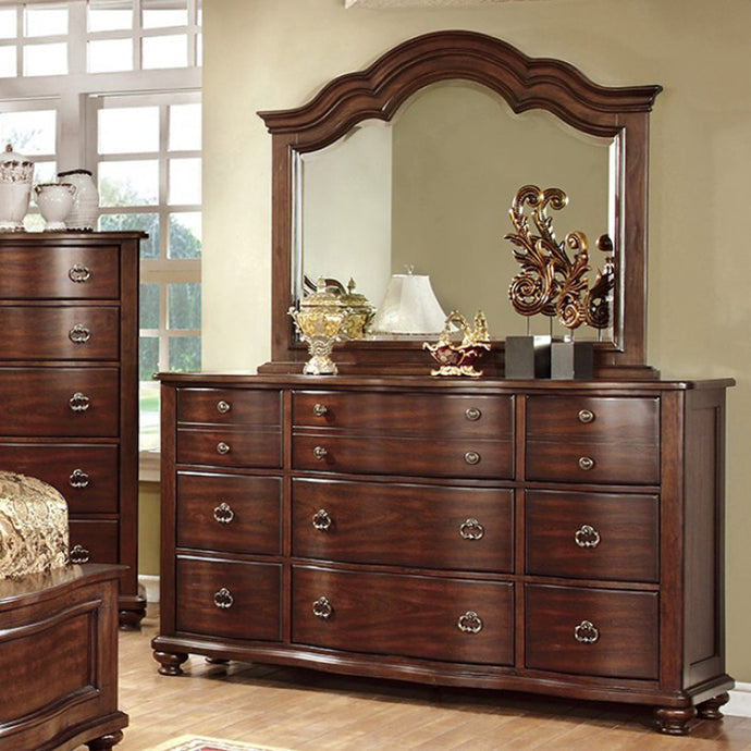 Bellavista CM7350DM Traditional Brown Finish Dresser Mirror Set