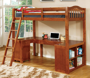 Furniture of America Dutton Oak Twin Workstation Loft Bed with Built-In Desk
