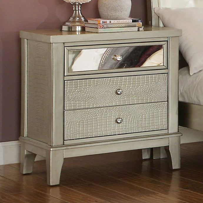 Furniture of America Adeline CM7282N Contemporary Silver Nightstand