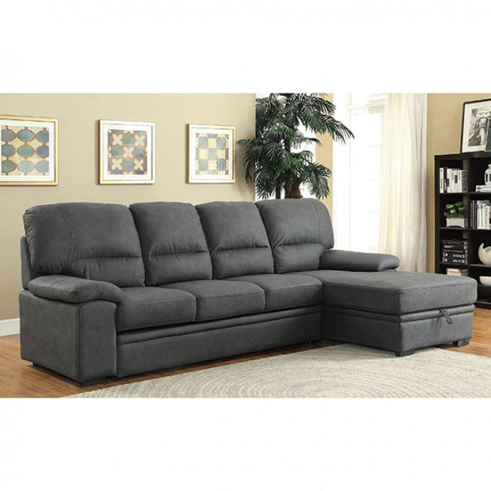 Furniture of America CM6908BK Alcester Graphite Sectional Sofa Couch