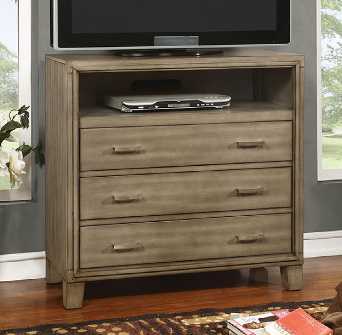 Furniture of America CM7068GY-TV Enrico I Contemporary Gray Media Chest