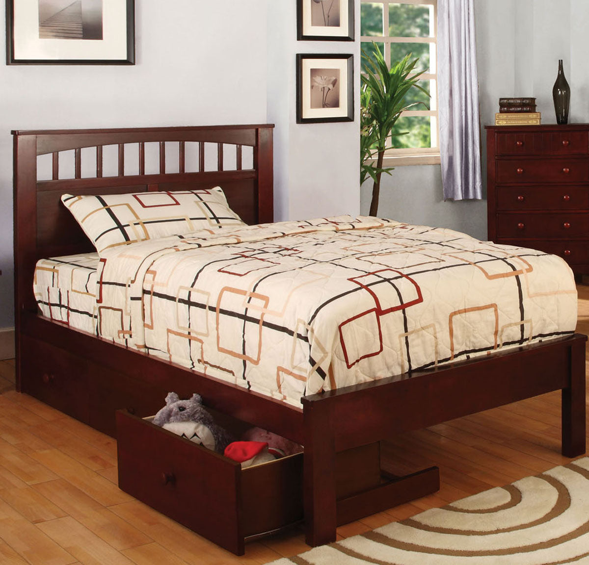 Carus CM7904CH-T CM-DR452-CH Cherry Twin Platform Bed with Drawers