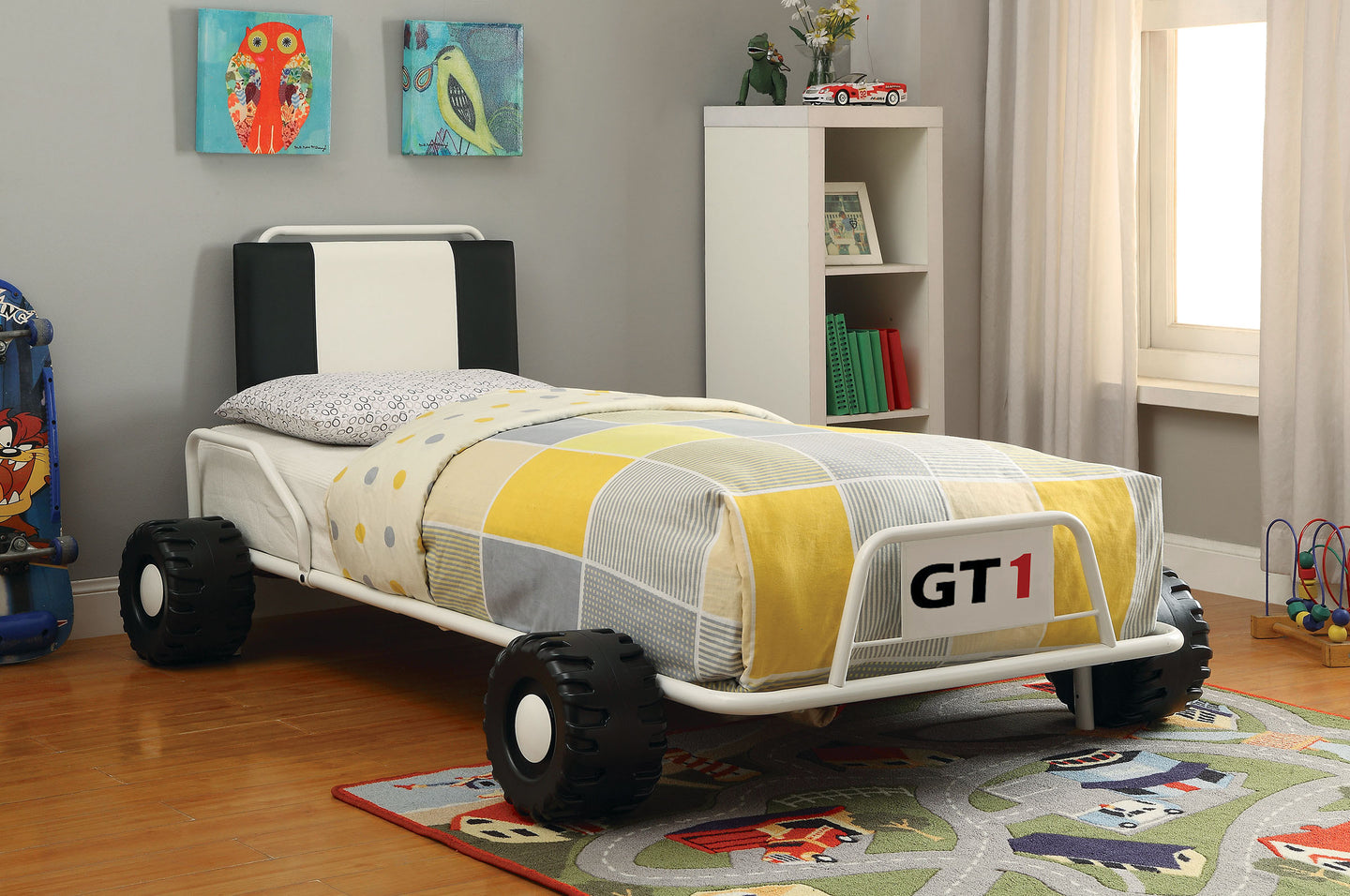 Power Racer CM7285WH Contemporary White Metal Twin Bed