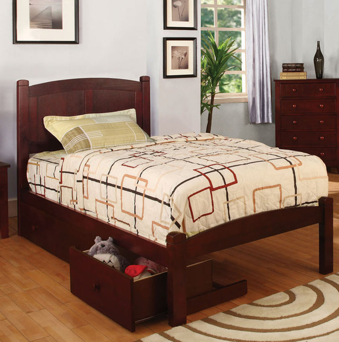 Cara CM7903CH-T Transitional Cherry Twin Storage Drawers Platform Bed