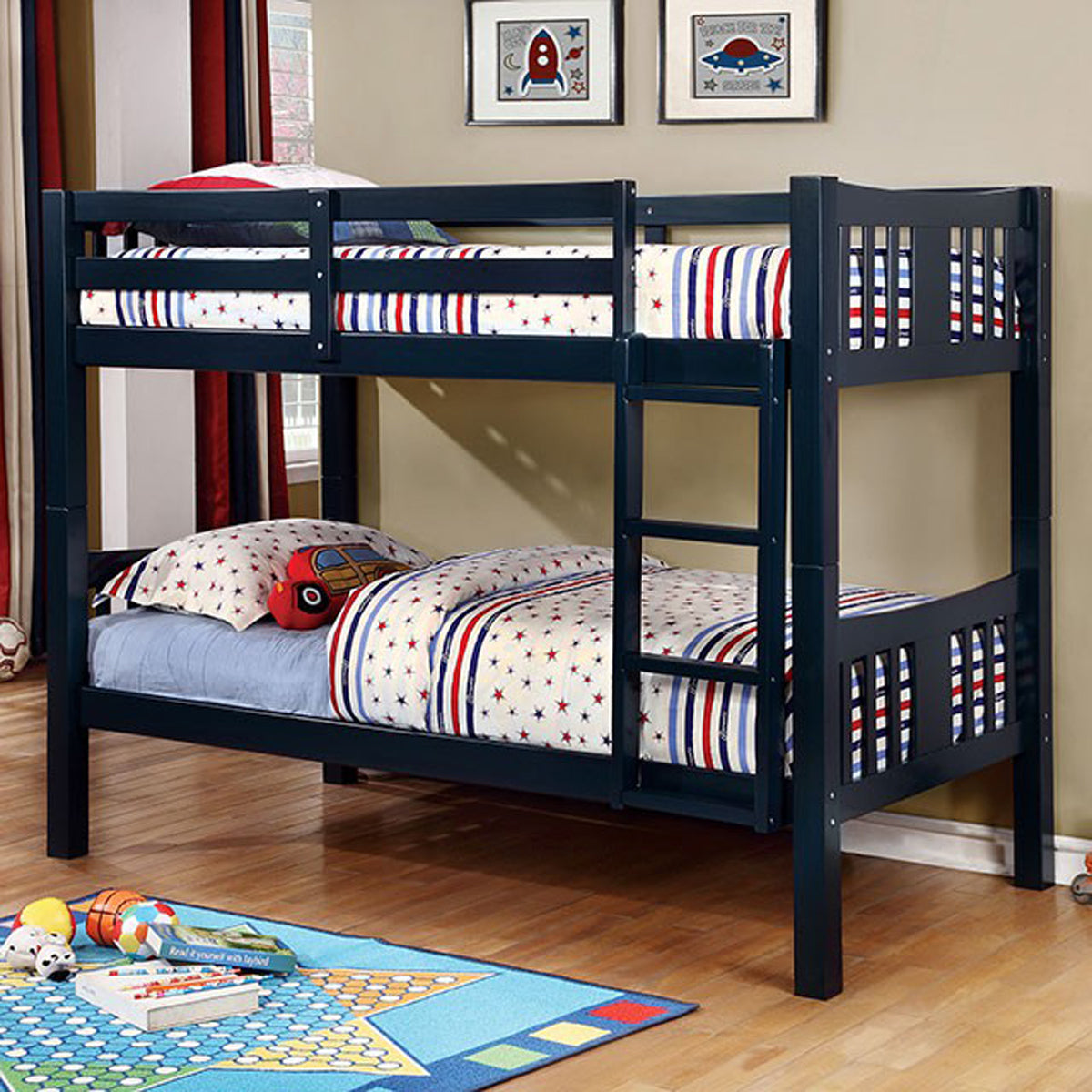 Cameron CM-BK929BL Transitional Blue Twin over Twin Bunk Bed