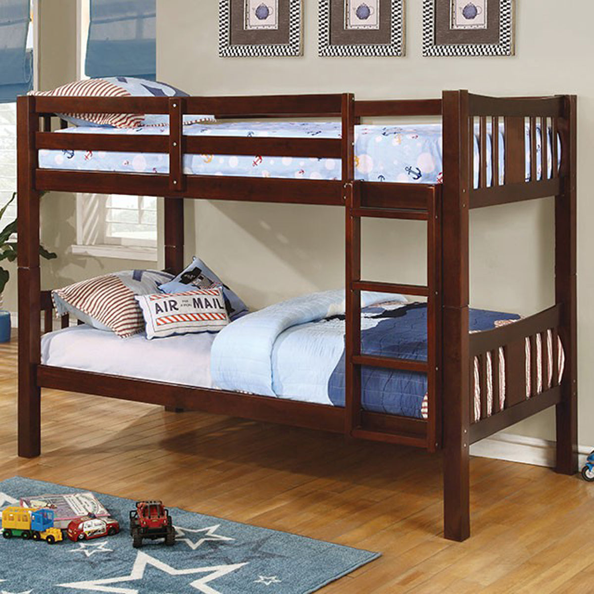 Cameron CM-BK929EX Transitional Dark Walnut Twin over Twin Bunk Bed