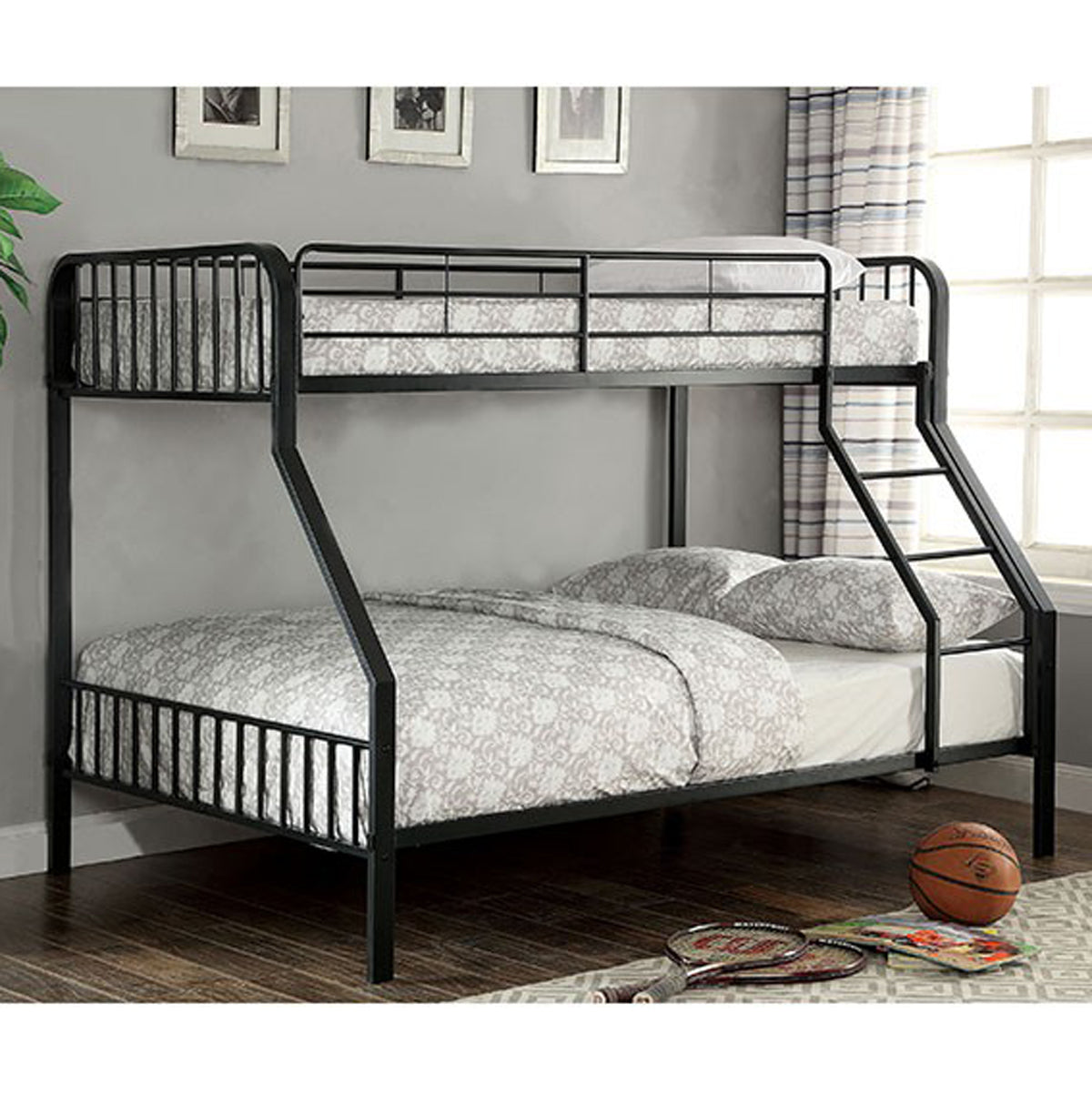 Clement CM-BK928TF Contemporary Black Metal Twin over Full Bunk Bed