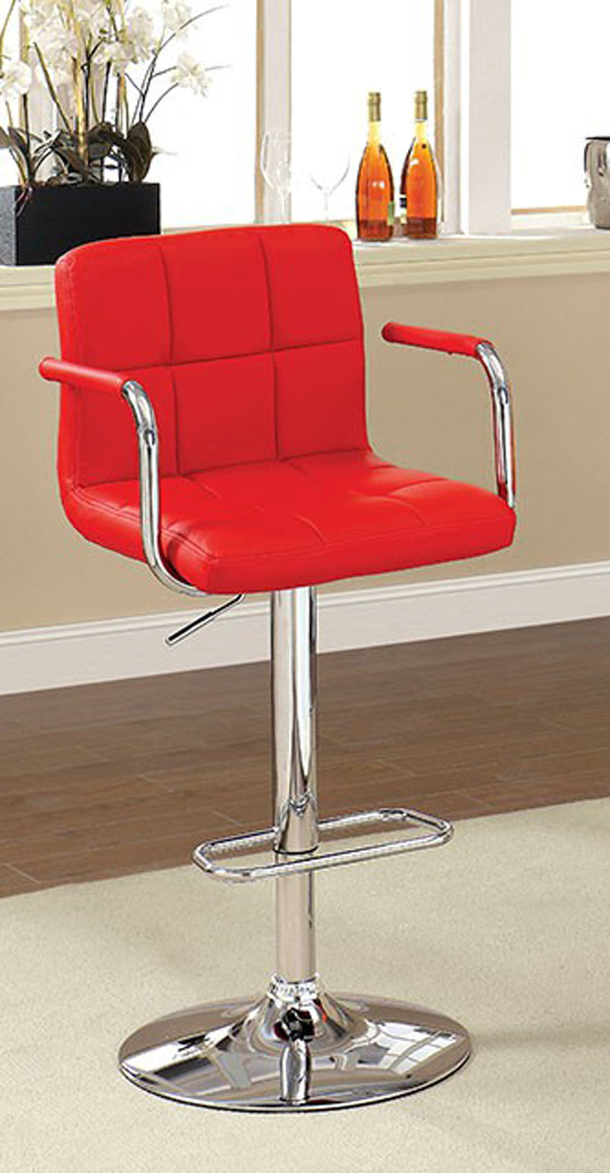 Corfu CM-BR6917RD Red Finish Swivel Bar Stool With Armrests