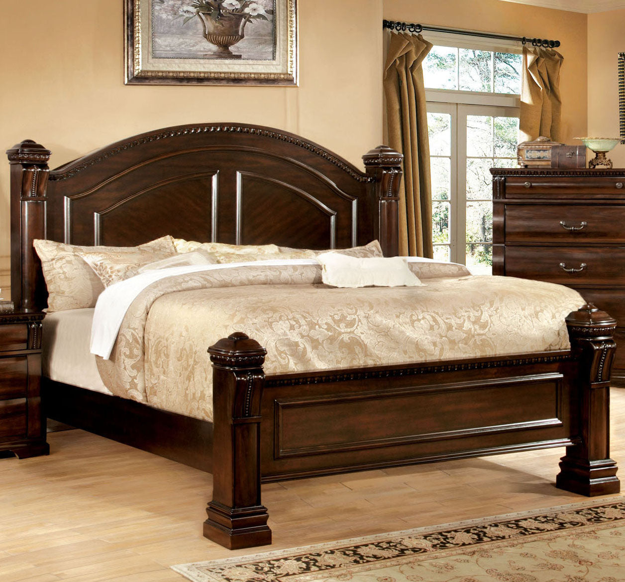 Furniture of America CM7791Q Burleigh Transitional Cherry Queen Bed