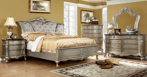 Johara CM7090Q Traditional Gold Finish Solid Wood Queen Bedroom Set