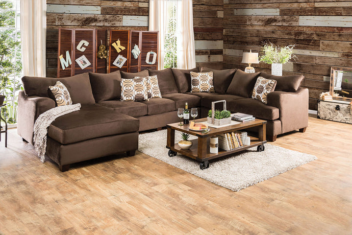 Wessington SM6111 Transitional Chocolate Fabric Sectional Sofa Couch