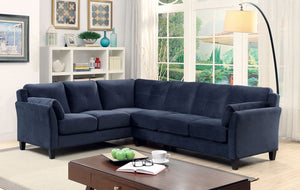 Furniture of America Peever II Navy Flannelette Sectional Sofa