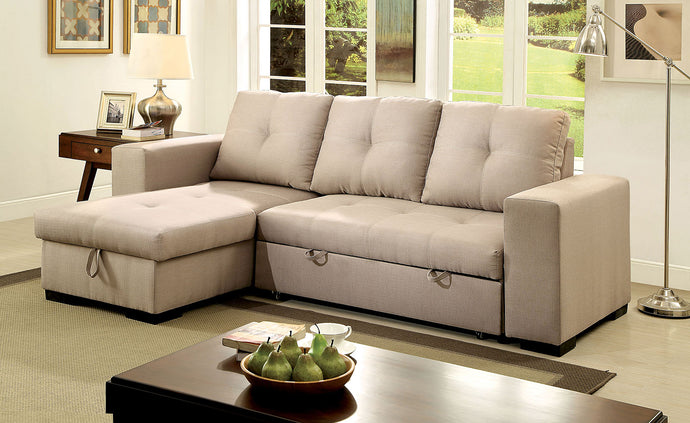 Denton CM6149IV Contemporary Ivory Fabric Sectional Sofa Couch