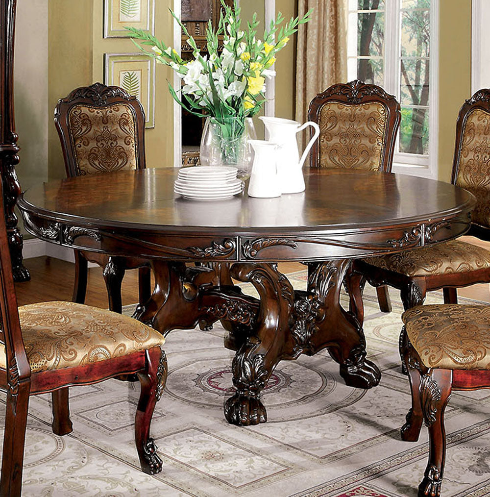 Furniture of America CM3557CH-RT Medieve Cherry Round Dining Table