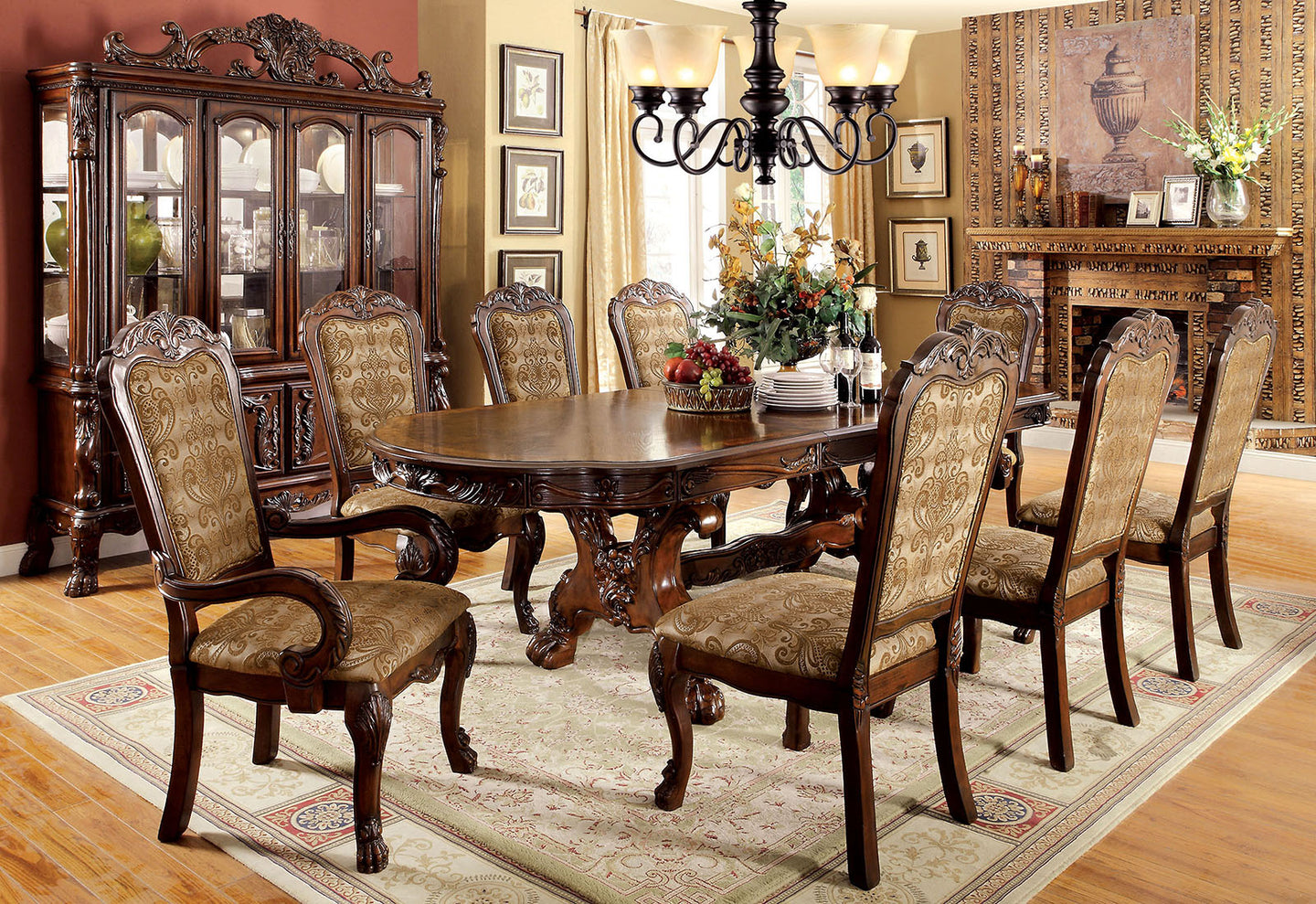 Furniture of America CM3557CH-T Medieve 9 Piece Transitional Cherry Dining Set