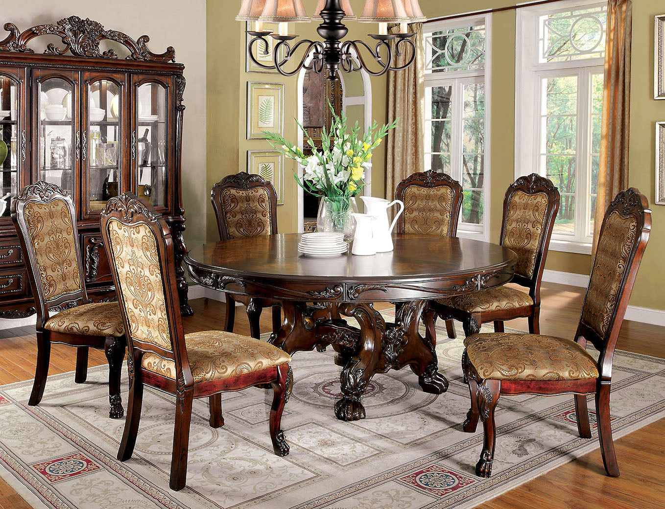 Furniture of America CM3557CH-RT Medieve Transitional Round Dining Set