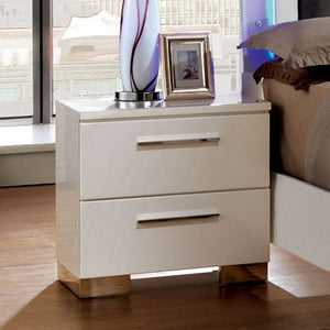 Furniture of America CM7201N Clementine Contemporary White Nightstand