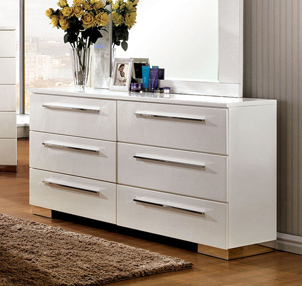 Furniture of America CM7201D Clementine Contemporary White Dresser