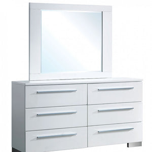 Clementine CM7201D CM7201M Contemporary White Dresser and Mirror Set