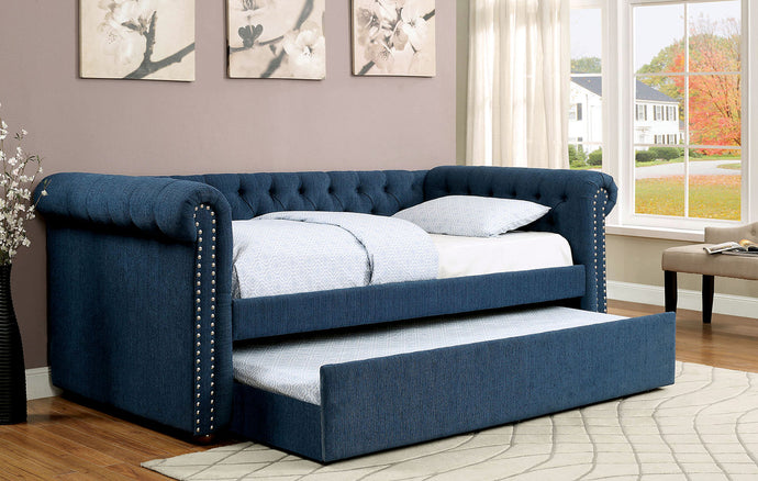 Furniture Of America Leanna Dark Teal Fabric And Wood Finish Twin Daybed with Trundle
