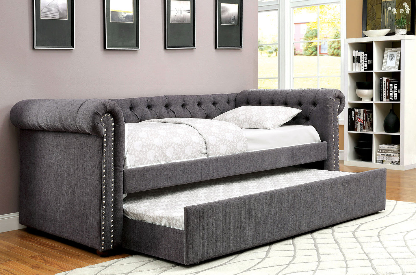 Leanna CM1027GY Transitional Gray Fabric Daybed with Trundle