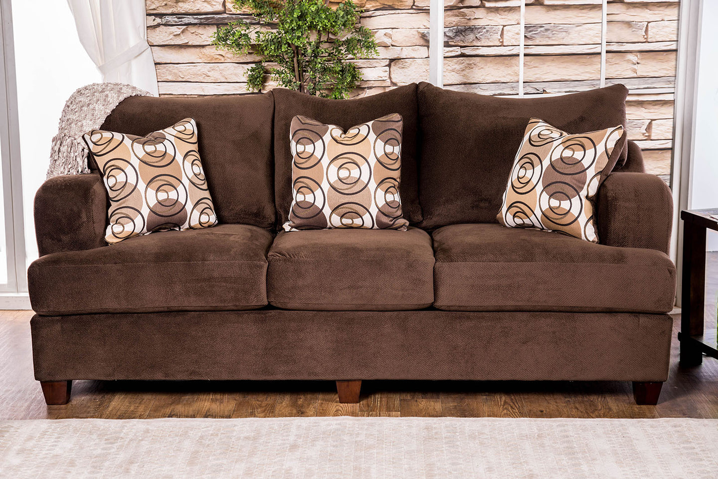 Furniture of America SM6131-SF Wessington Transitional Chocolate Sofa