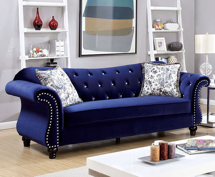 Furniture of America CM6159BL-SF Jolanda Traditional Blue Fabric Sofa