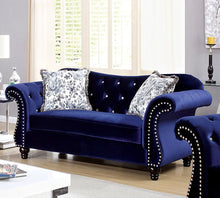 Load image into Gallery viewer, Jolanda CM6159BL-LV Traditional Style Blue Flannelette Fabric Loveseat