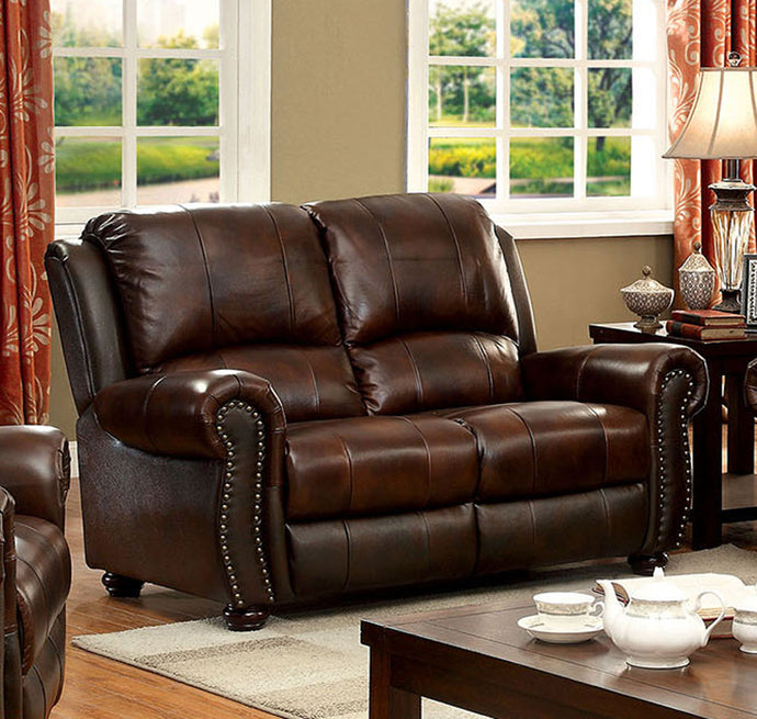 Furniture of America Turton Transitional Brown Top Grain Leather Match Loveseat