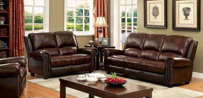 Furniture of America Turton 2 Piece Brown Top Grain Leather Match Sofa Loveseat Set