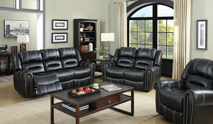Frederick CM6130-SF Contemporary Black Leatherette Recliner Sofa Set