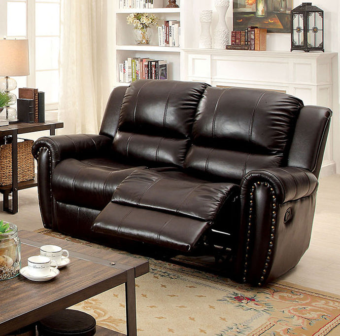 Foxboro CM6909-LV Transitional Style Brown Top Grain Leather Loveseat