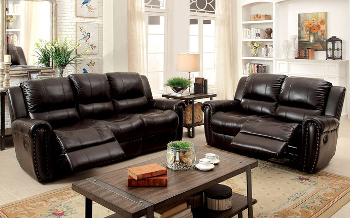 Foxboro CM6909SF Transitional Style Brown Top Grain Leather Sofa Set