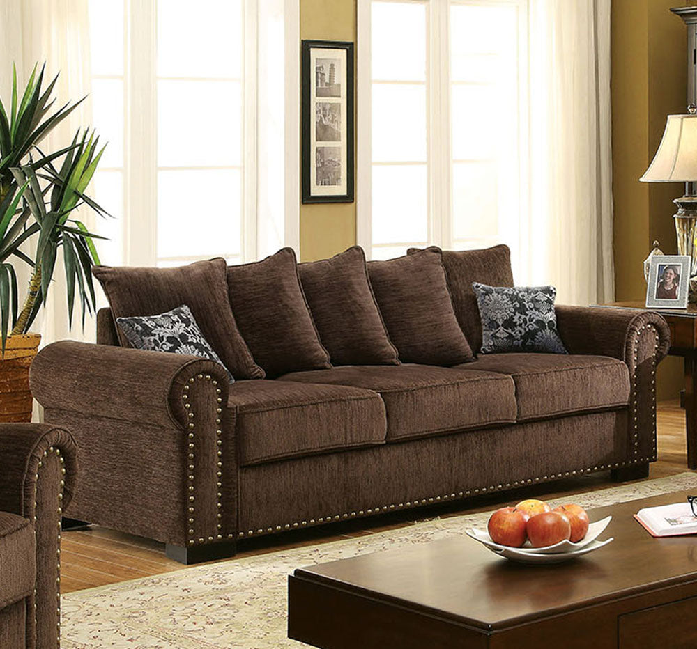 Furniture of America CM6127-SF Rydel Transitional Brown Fabric Sofa