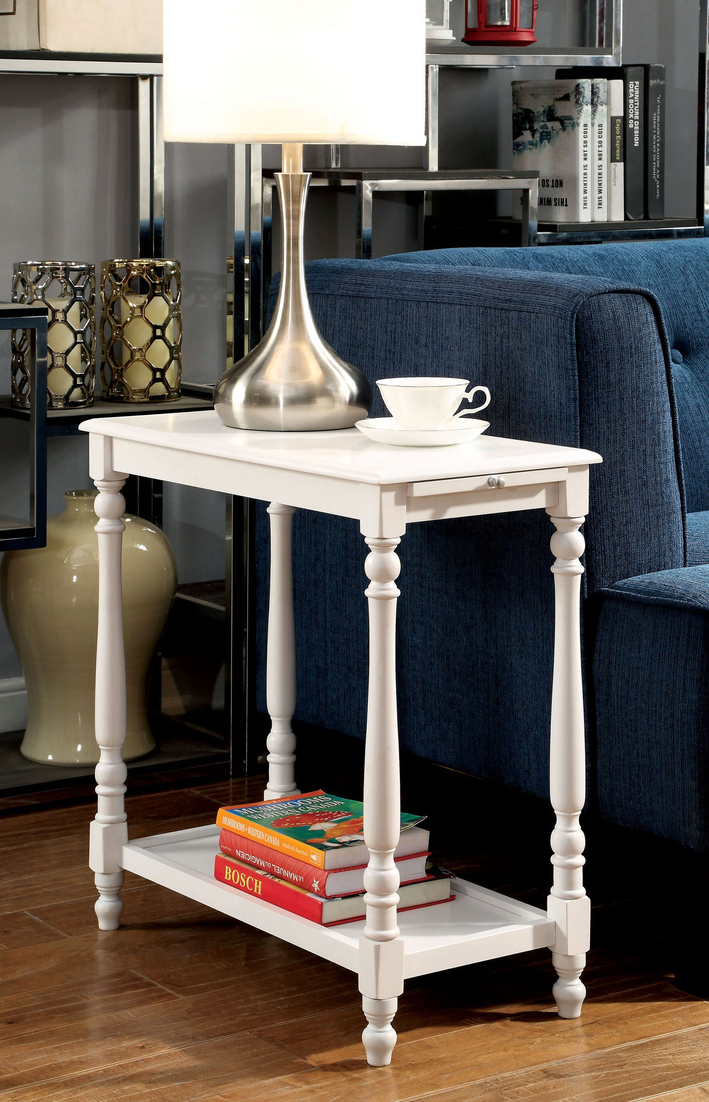 Furniture of America CM-AC222 Deering Transitional White Side Table