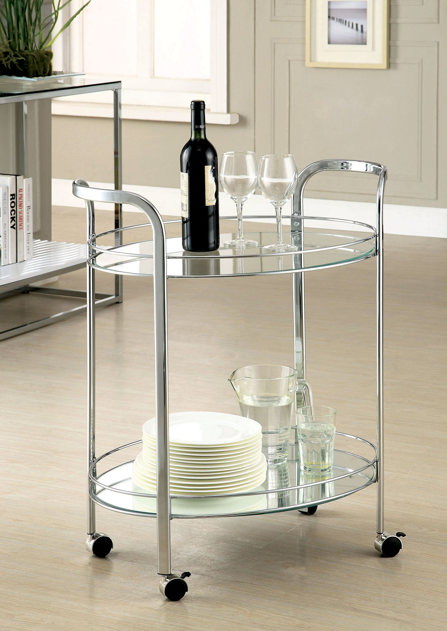 Furniture of America CM-AC228 Loule Chrome Serving Cart