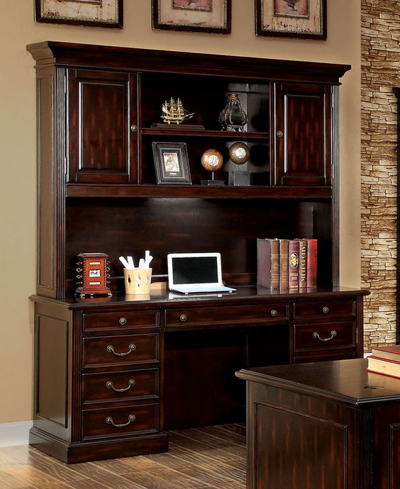 Coolidge CM-DK6208CD 2PC Cherry Finish Office Credenza Desk Hutch Set