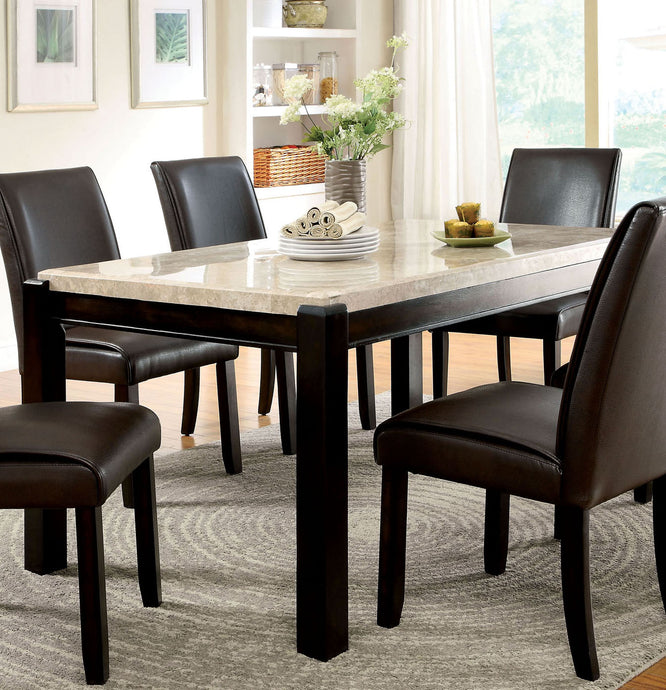 Gladstone I CM3823T Contemporary Dark Walnut Marble Top Dining Table