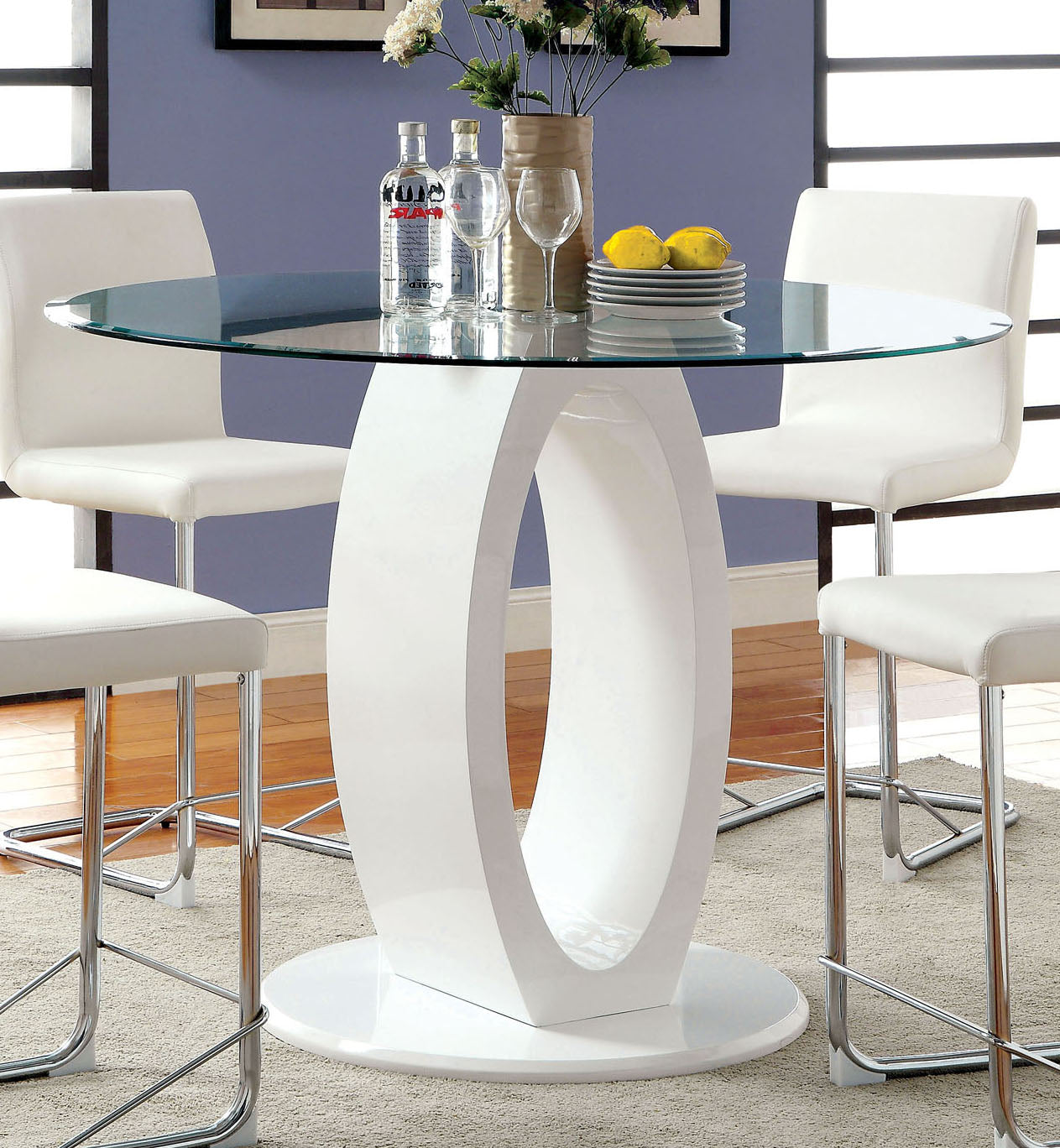 Lodia II CM3825WH-RPT Contemporary White Round Counter Height Table