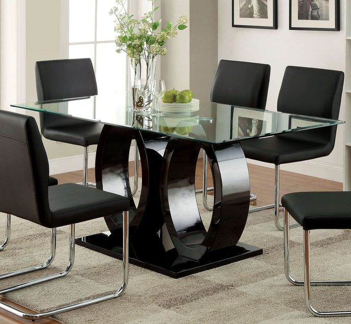 Lodia I CM3825BK-T Contemporary Black Glass Top Dining Table