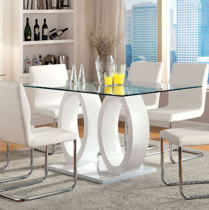Lodia I CM3825WH-T Contemporary White Glass Top Dining Table