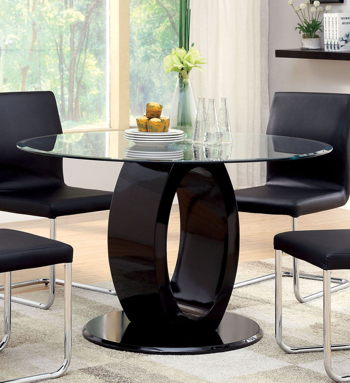 Furniture of America Lodia I Contemporary Black Glass Top Round Dining Table