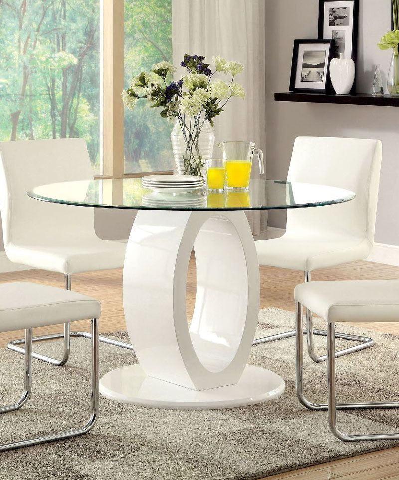 Furniture of America Lodia I Contemporary White Glass Top Round Dining Table