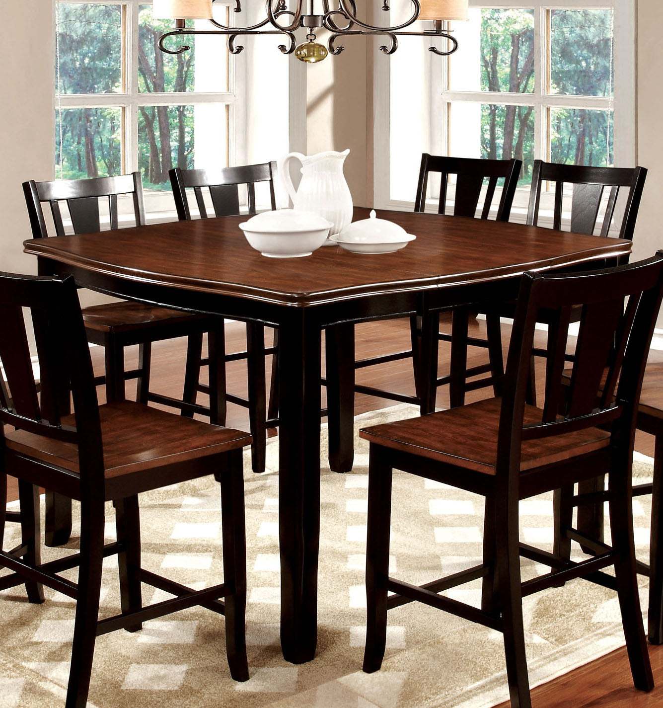 Dover CM3326BC-PT Transitional Black Cherry Wood Counter Height Table