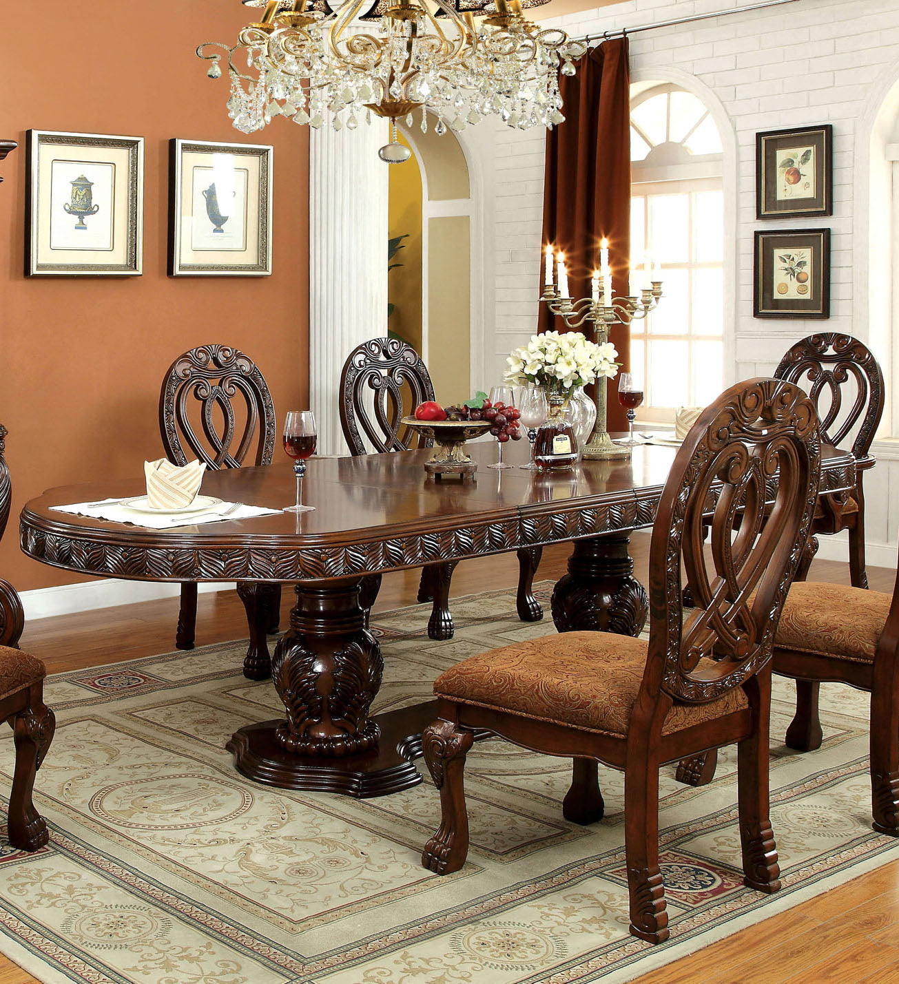Wyndmere CM3186CH-T Cherry Finish Formal Dining Table with 2 Leaves