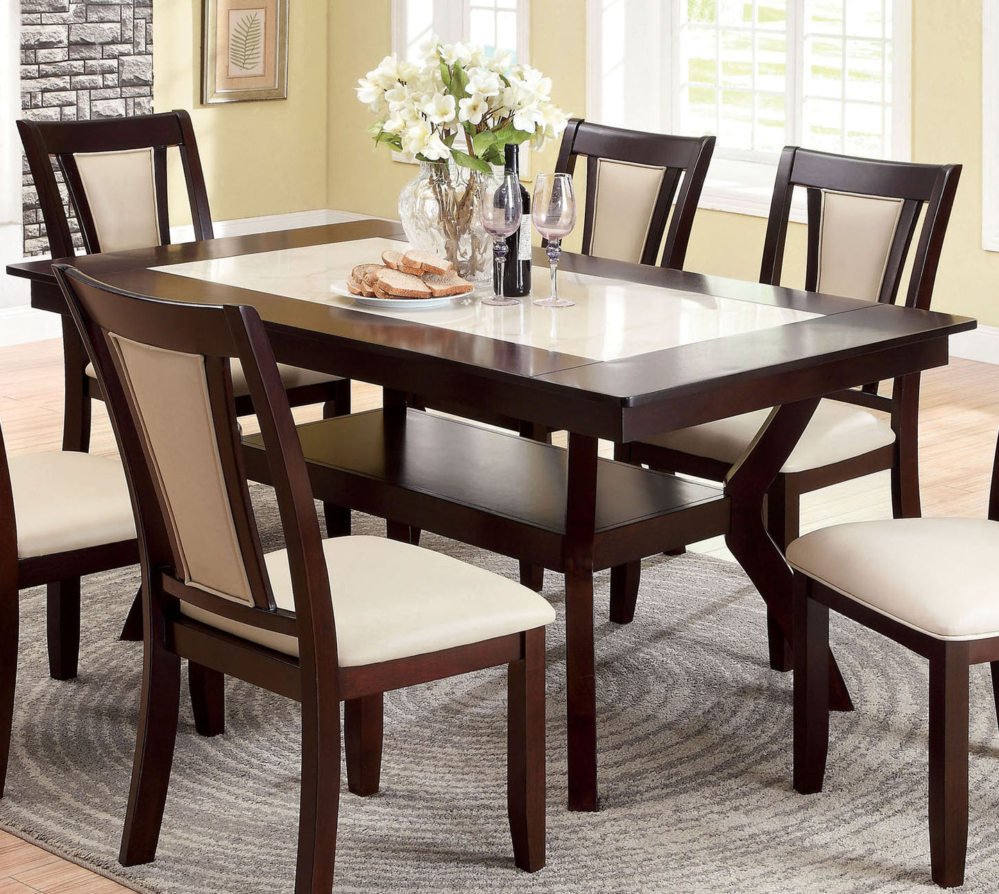 Brent CM3984T Transitional Dark Cherry Finish Dining Table