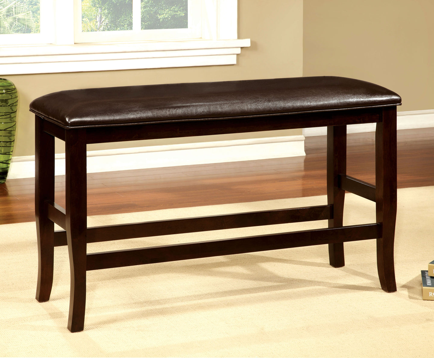 Woodside CM3024PBN Transitional Espresso Finish Counter Height Bench