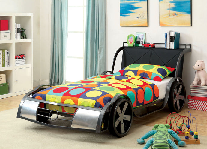 Furniture of America CM7946 GT Racer Silver Gun Metal Twin Bed