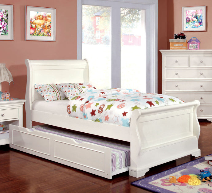 Mullan CM7944WH-F Transitional White Finish Full Trundle Sleigh Bed